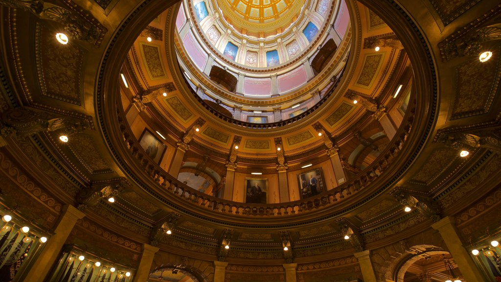 Michigan State Capitol which includes heritage elements and interior views