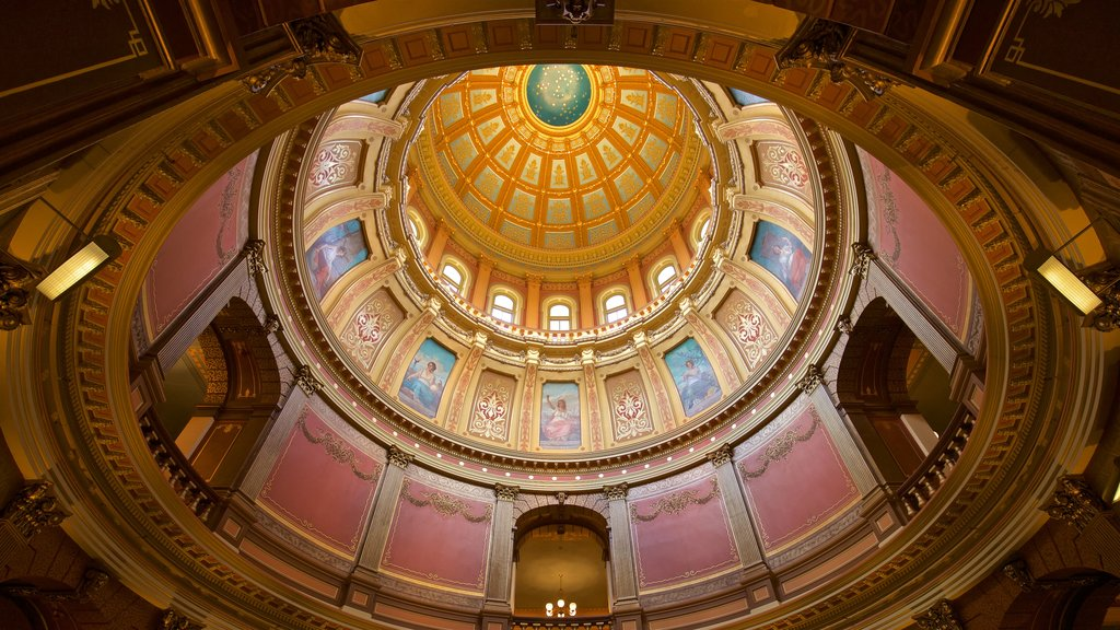 Michigan State Capitol showing heritage elements and interior views