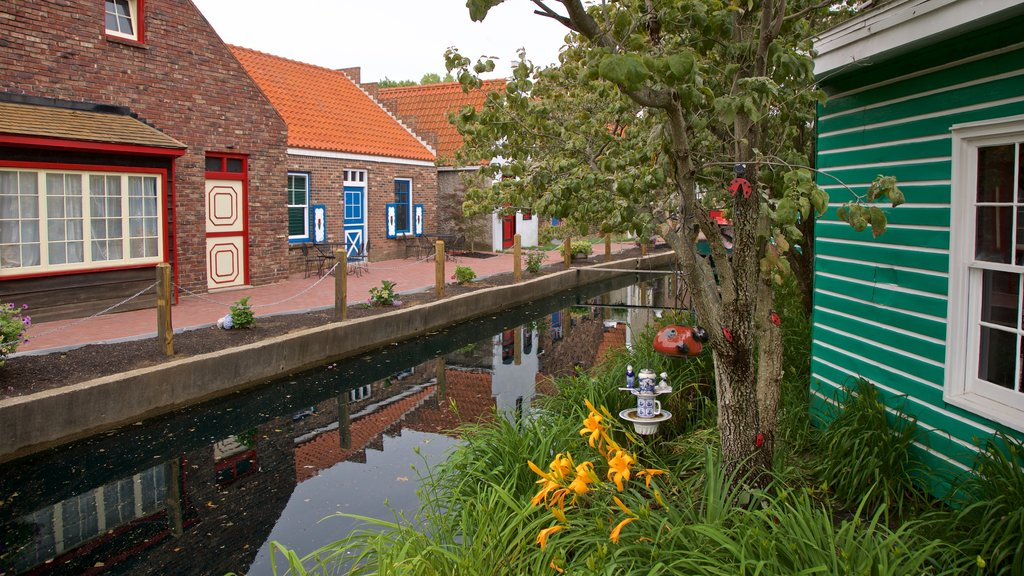 Dutch Village showing a small town or village and a river or creek
