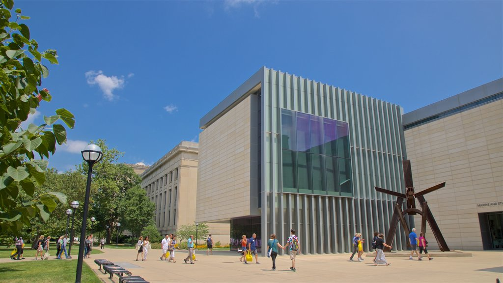 University of Michigan Museum of Art showing modern architecture as well as a small group of people