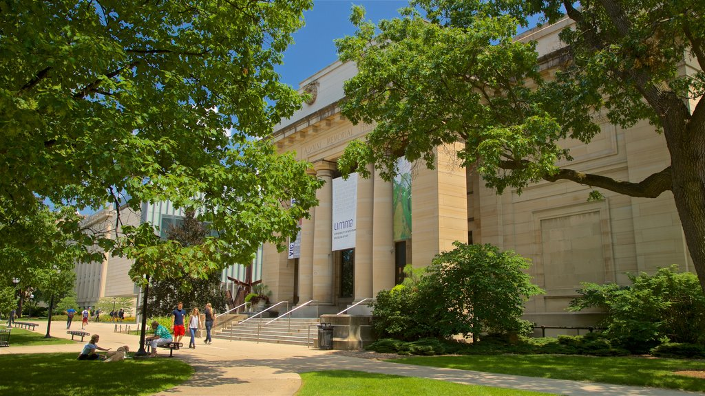 University of Michigan Museum of Art showing a garden and heritage architecture as well as a small group of people