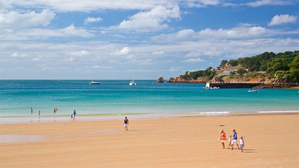 St Brelade\'s Bay Beach showing a sandy beach, general coastal views and landscape views