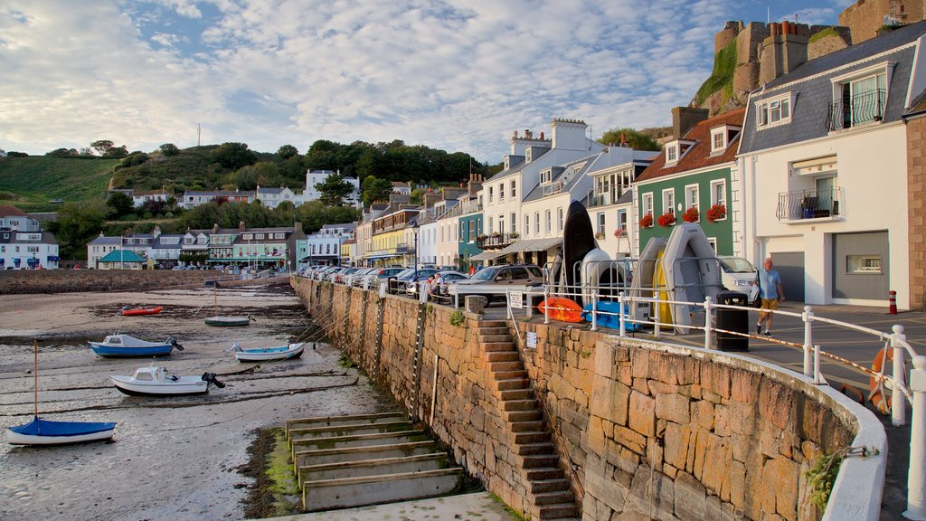 Gorey which includes a bay or harbor, a beach and a coastal town