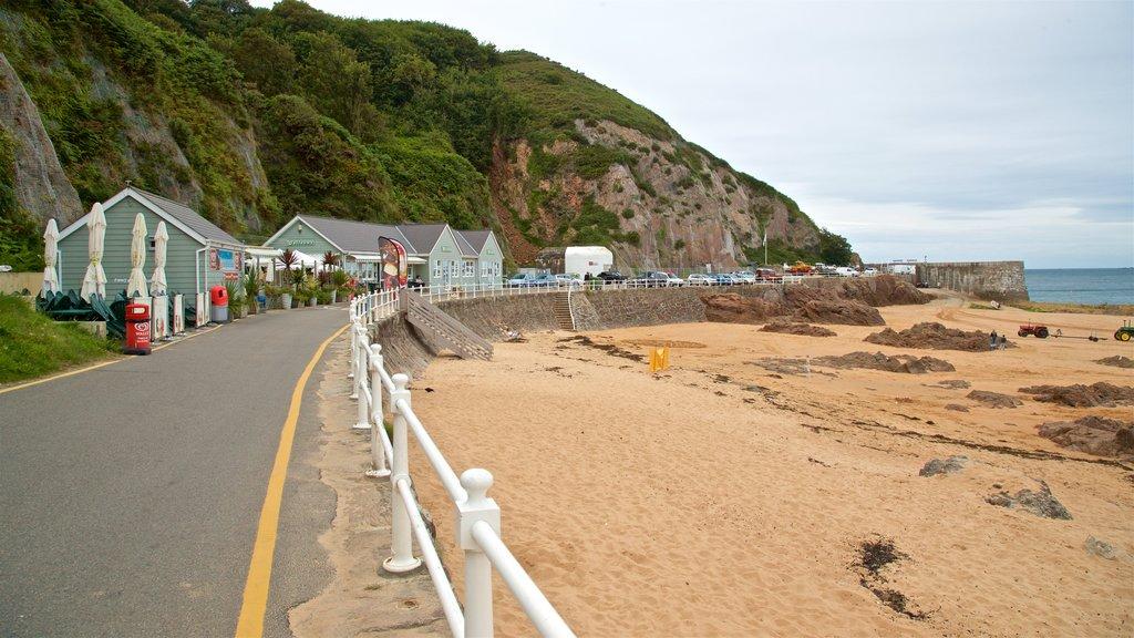 La Greve de Lecq which includes a beach and general coastal views