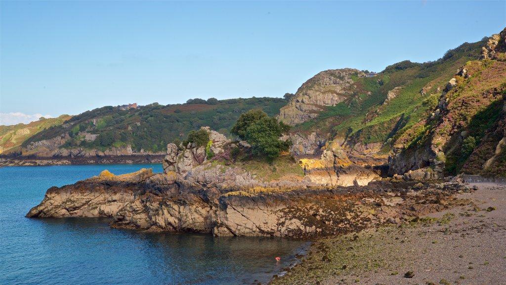 Bouley Bay showing a pebble beach, general coastal views and rocky coastline