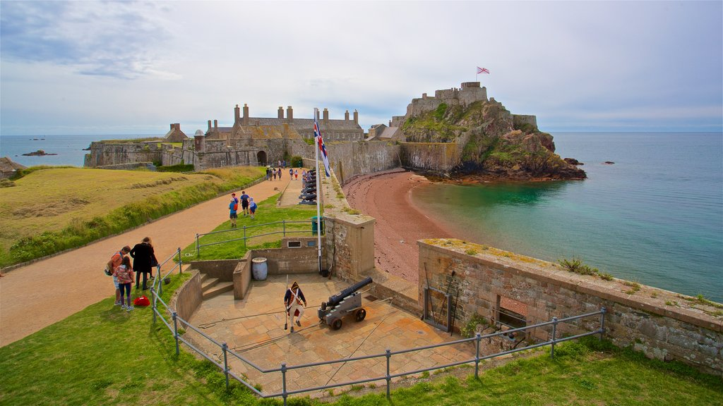 Elizabeth Castle showing chateau or palace, general coastal views and a beach