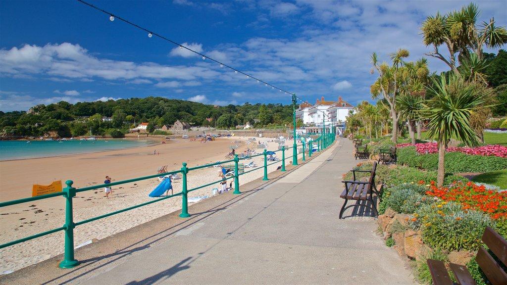 St Brelade\'s Bay Beach showing flowers, general coastal views and a beach