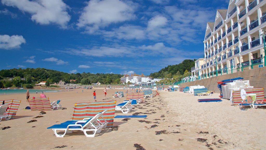 St Brelade\'s Bay Beach which includes a sandy beach and general coastal views