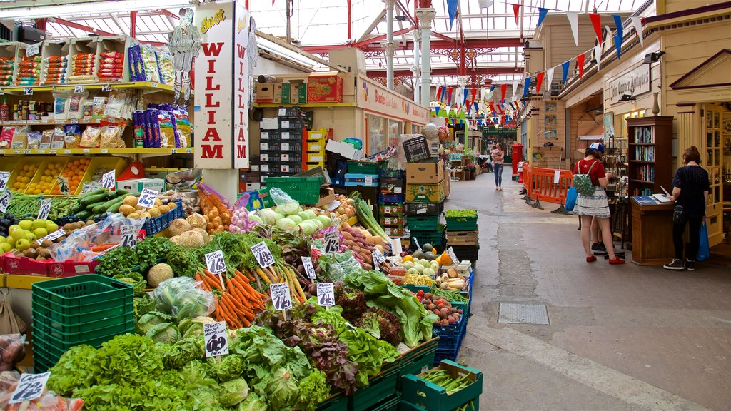 St. Helier Central Market showing markets and food