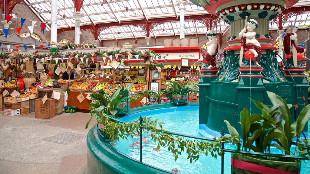 St. Helier Central Market showing a fountain and markets