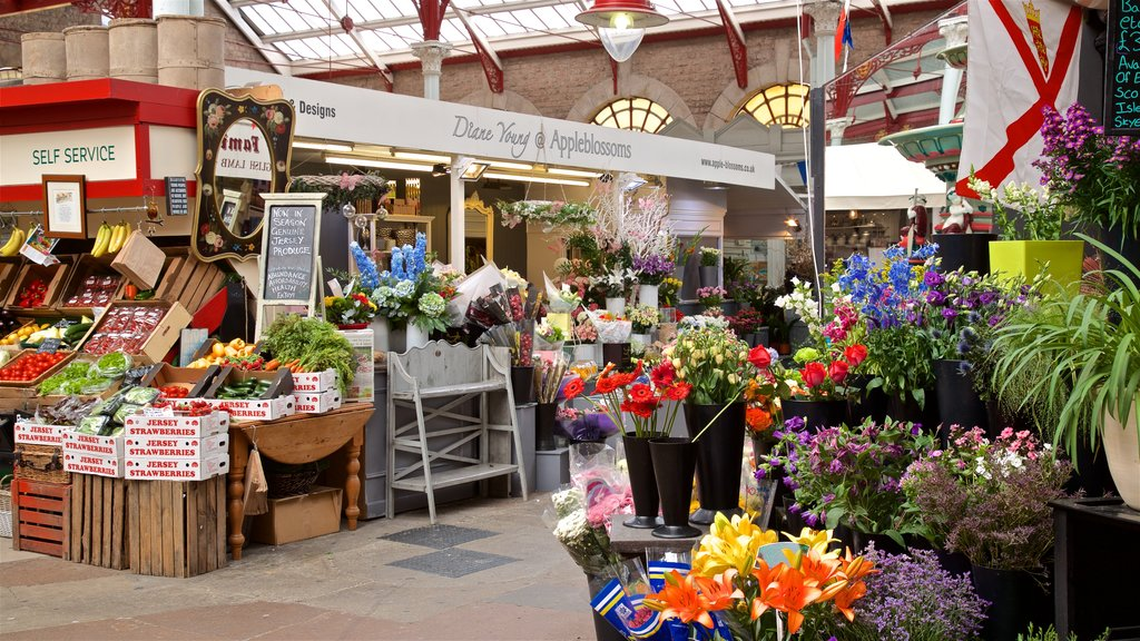 St. Helier Central Market which includes markets and flowers
