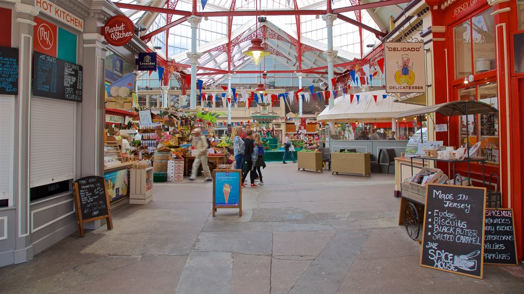 St. Helier Central Market which includes signage and markets
