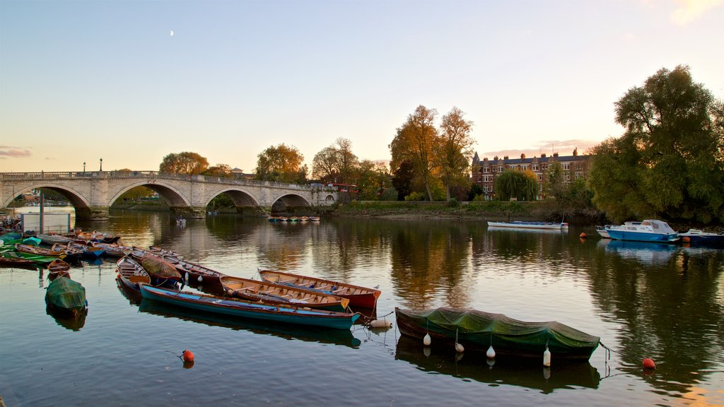 Richmond Bridge featuring a sunset, a river or creek and a bridge