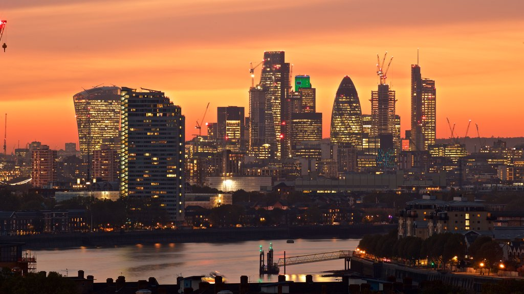 Greenwich Park featuring a city, a sunset and night scenes