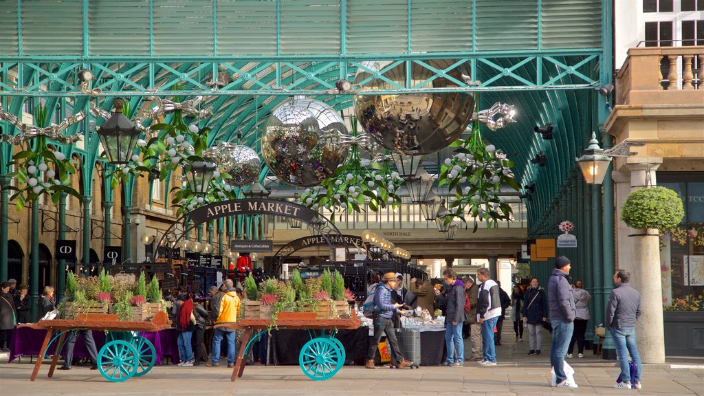 Covent Garden which includes street scenes and markets as well as a small group of people
