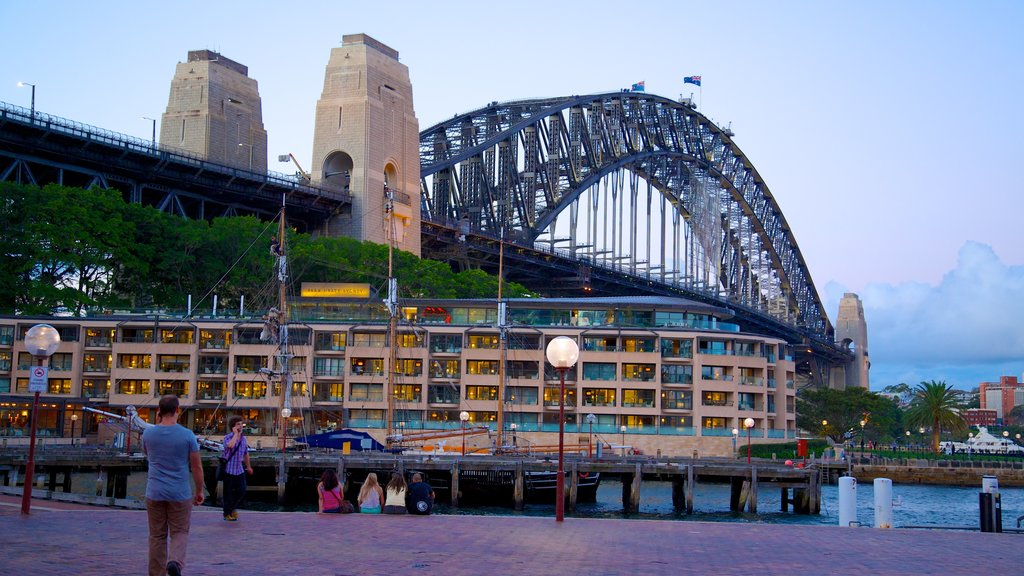Sydney Harbour Bridge which includes a bridge, modern architecture and a city