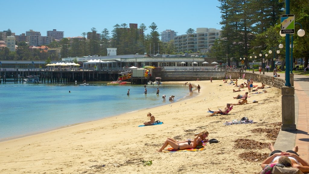 Manly Beach which includes swimming, a coastal town and a sandy beach