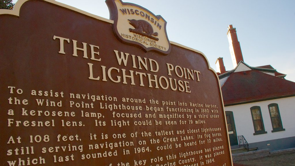 Wind Point Lighthouse which includes a lighthouse and signage