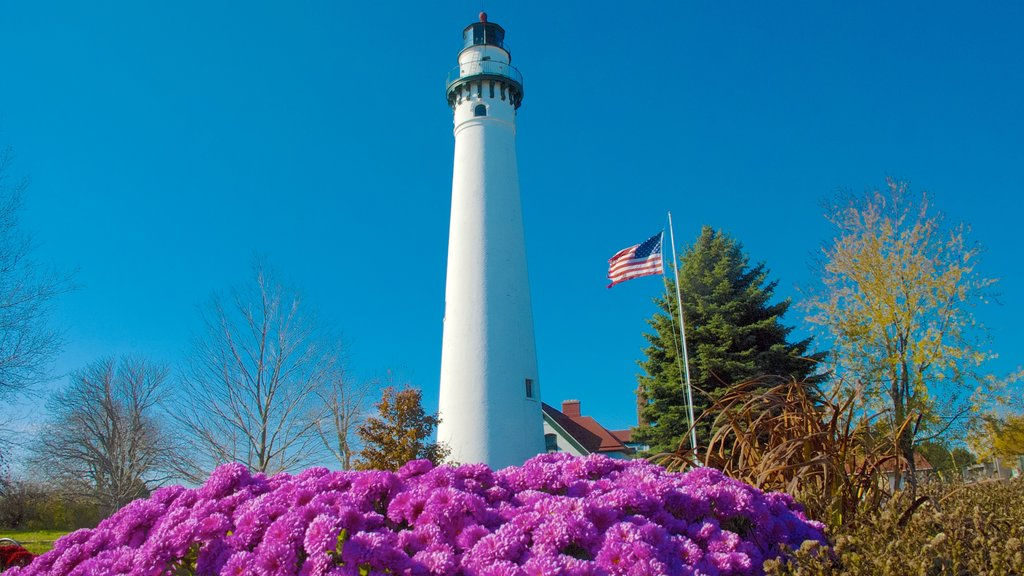 Wind Point Lighthouse featuring a lighthouse, heritage architecture and flowers
