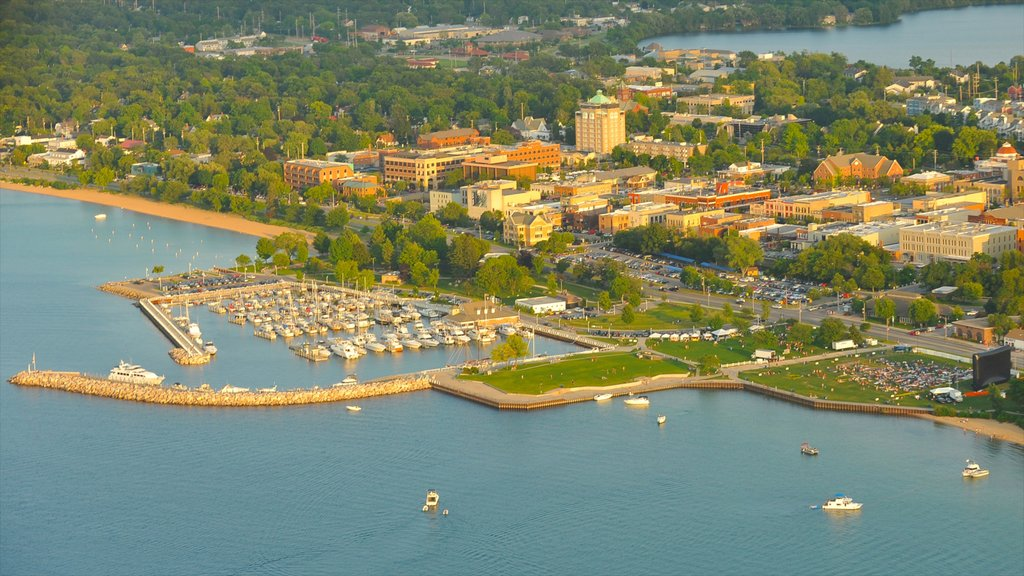 Traverse City which includes a bay or harbor and boating