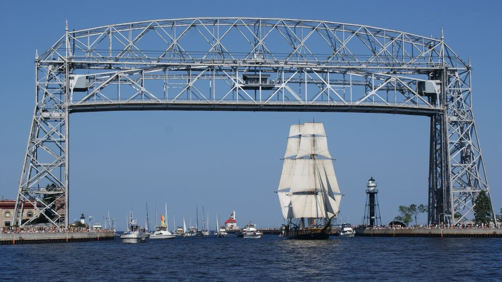 Duluth featuring a bridge, a bay or harbor and modern architecture