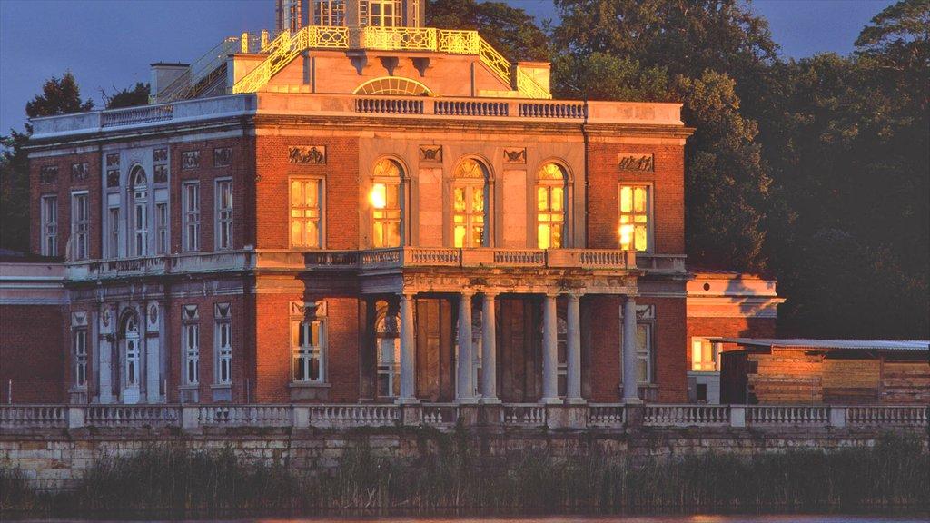 Potsdam which includes a castle, night scenes and heritage architecture