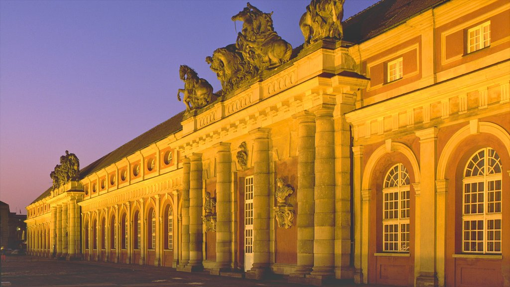 Potsdam showing night scenes, chateau or palace and heritage architecture