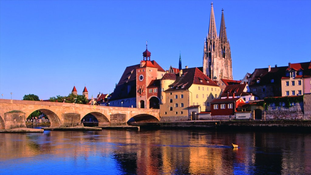 Regensburg which includes a bridge, heritage architecture and a river or creek