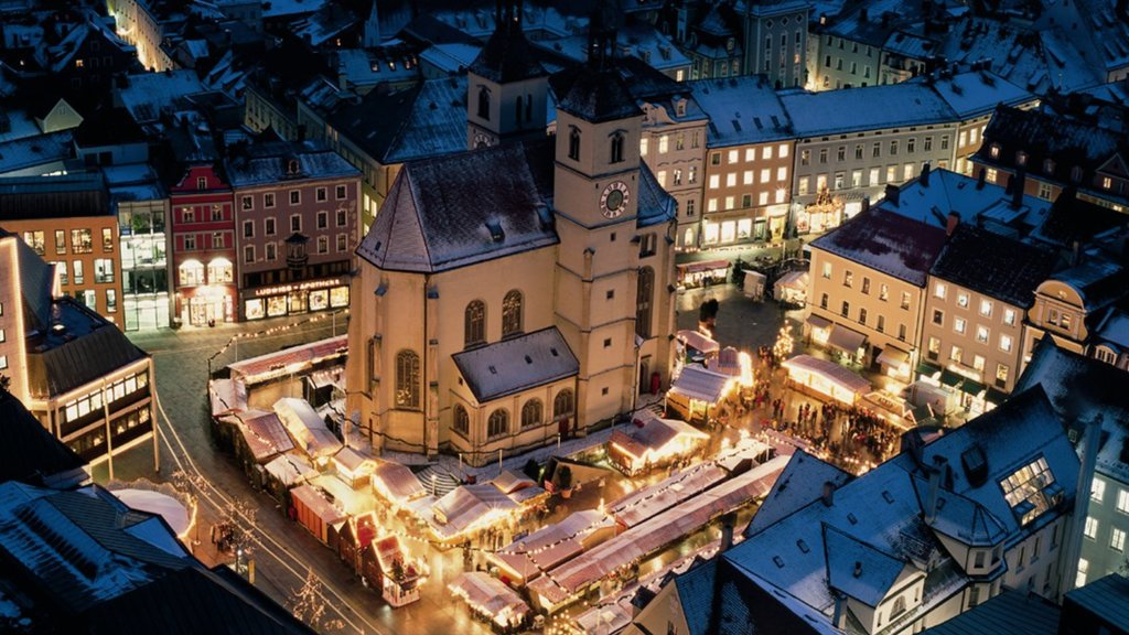 Regensburg which includes heritage architecture, night scenes and a city