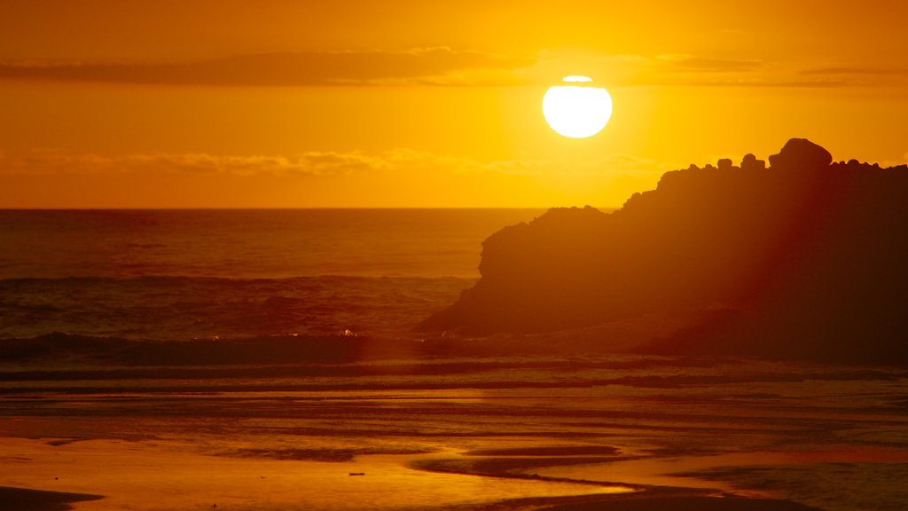 Piha Beach showing general coastal views and a sunset