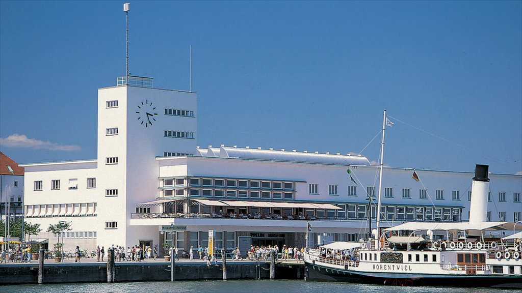 Friedrichshafen featuring street scenes, a ferry and a marina