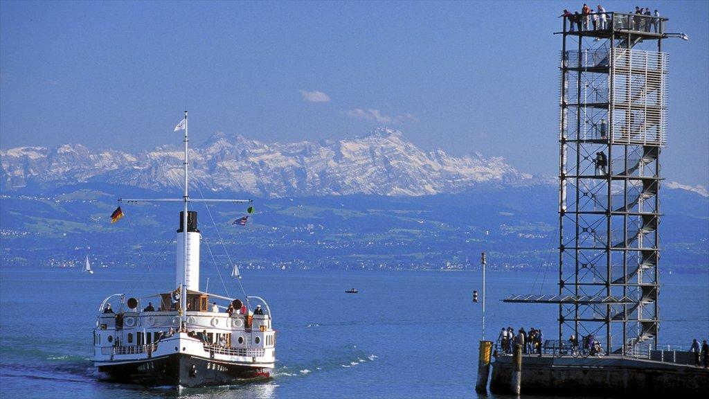 Friedrichshafen featuring skyline, a ferry and a lake or waterhole