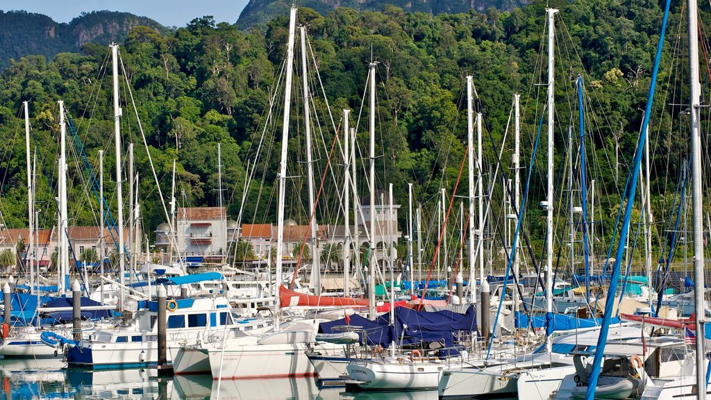 Langkawi showing a marina, a bay or harbor and boating