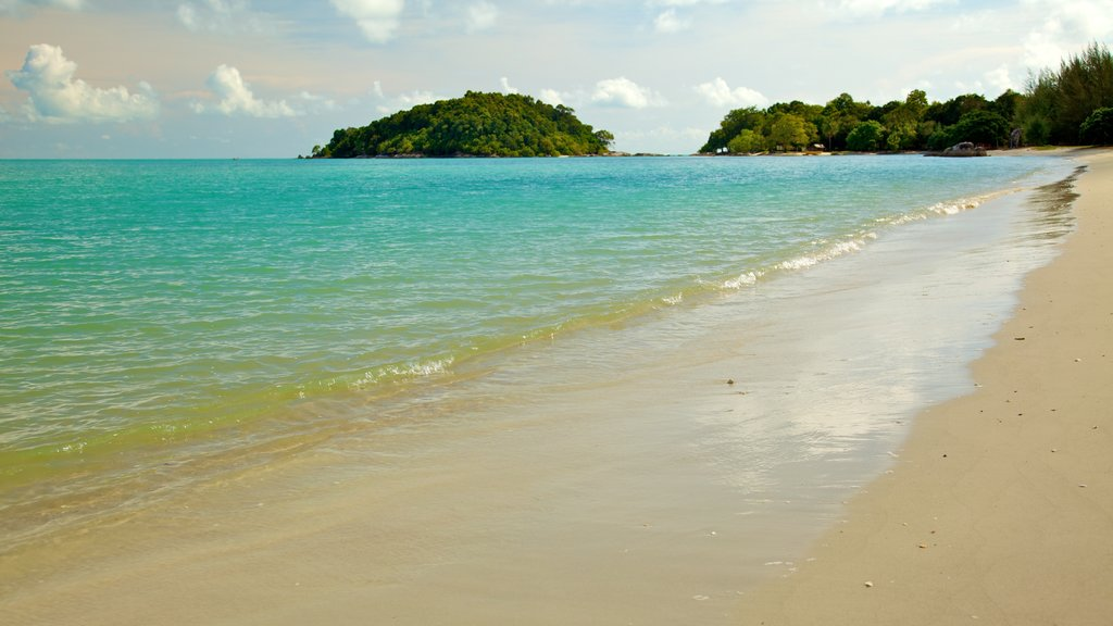 Datai Bay which includes landscape views, a beach and tropical scenes
