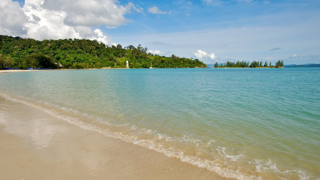 Datai Bay which includes landscape views, a sandy beach and tropical scenes