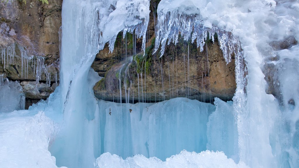 Maligne Canyon which includes landscape views and snow