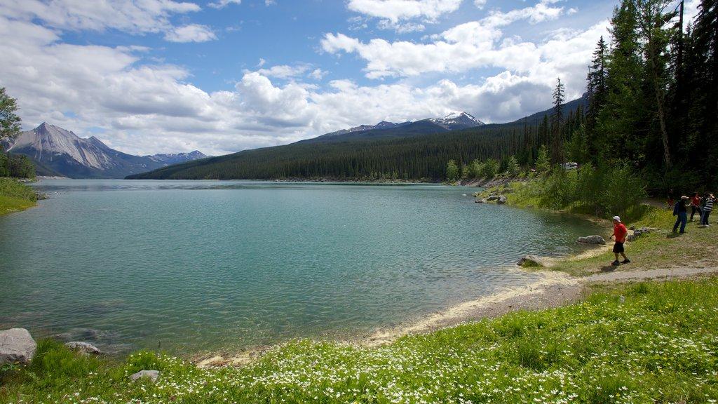 Lago Medicine que incluye un lago o abrevadero y vistas de paisajes