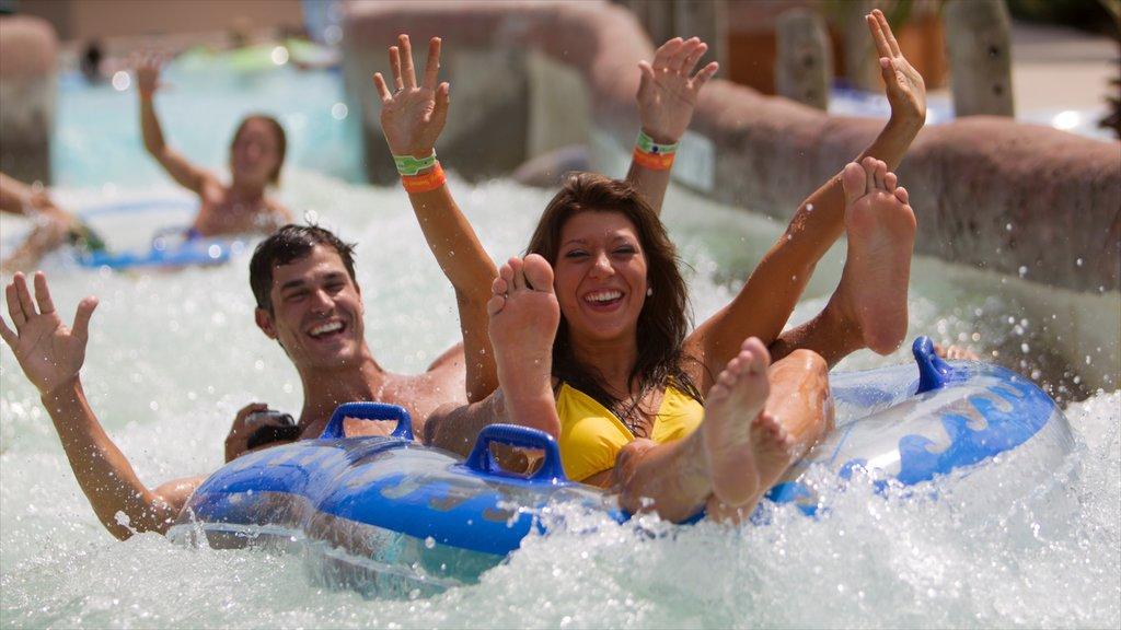 Galveston Schlitterbahn Waterpark mostrando un parque acuático y paseos y también una pareja