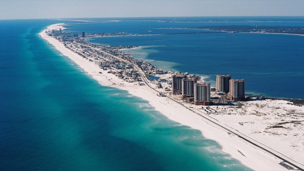Pensacola Beach featuring a beach, skyline and a coastal town
