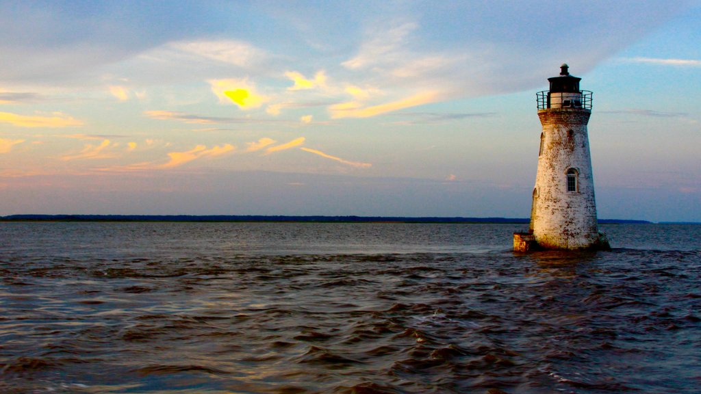 Tybee Island showing a lighthouse and a sunset