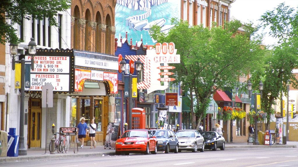 Old Strathcona showing signage and street scenes