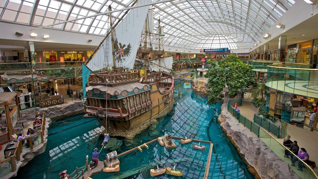 West Edmonton Mall que incluye vistas interiores, compras y distrito financiero central