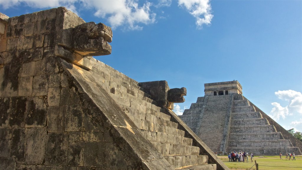 Chichen Itza which includes heritage architecture as well as a small group of people