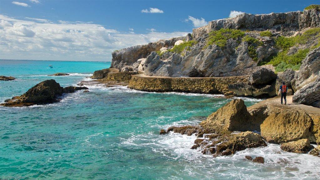 Isla Mujeres which includes rocky coastline and general coastal views