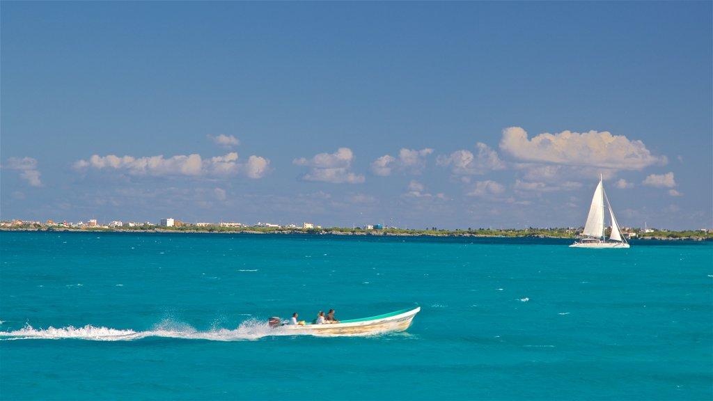Isla Mujeres showing general coastal views, sailing and boating