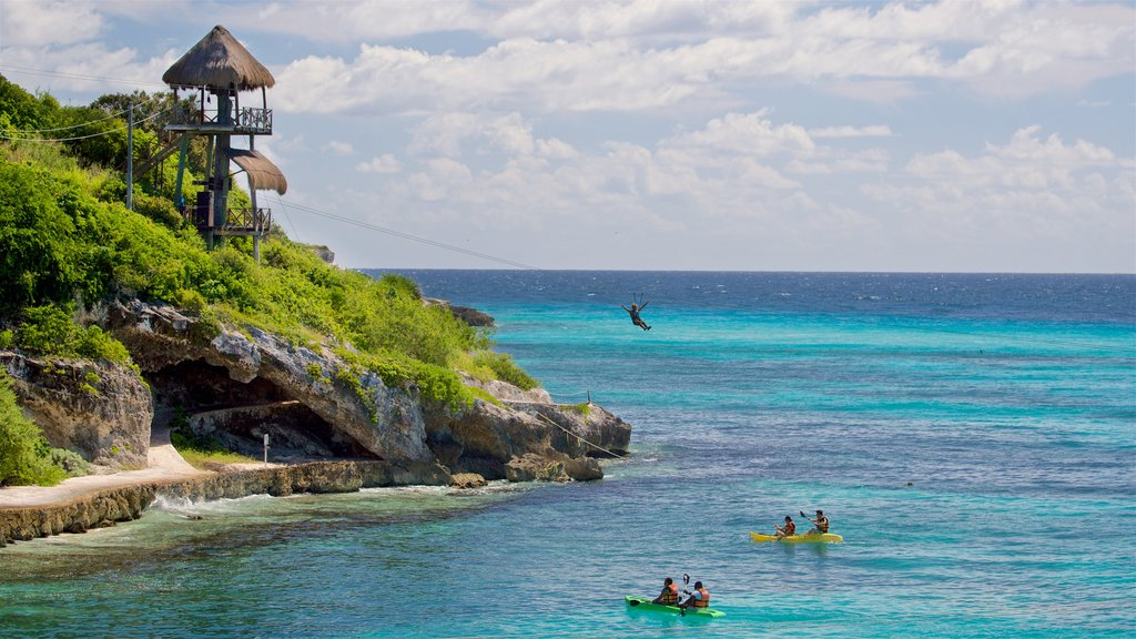 Isla Mujeres which includes general coastal views, kayaking or canoeing and zip lining