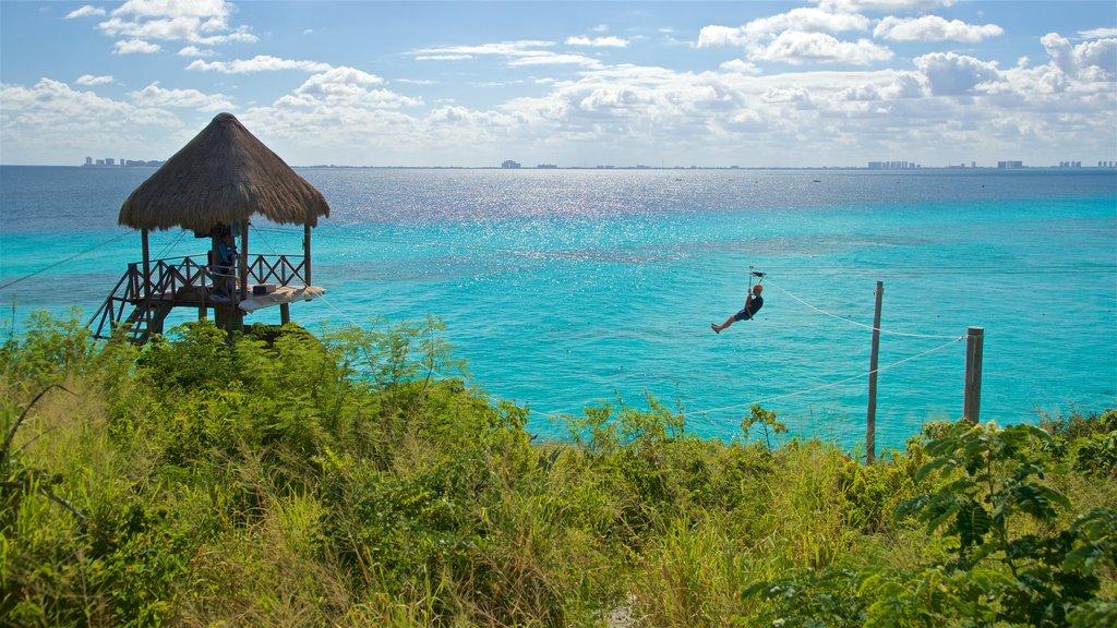Isla Mujeres showing zip lining, tropical scenes and general coastal views