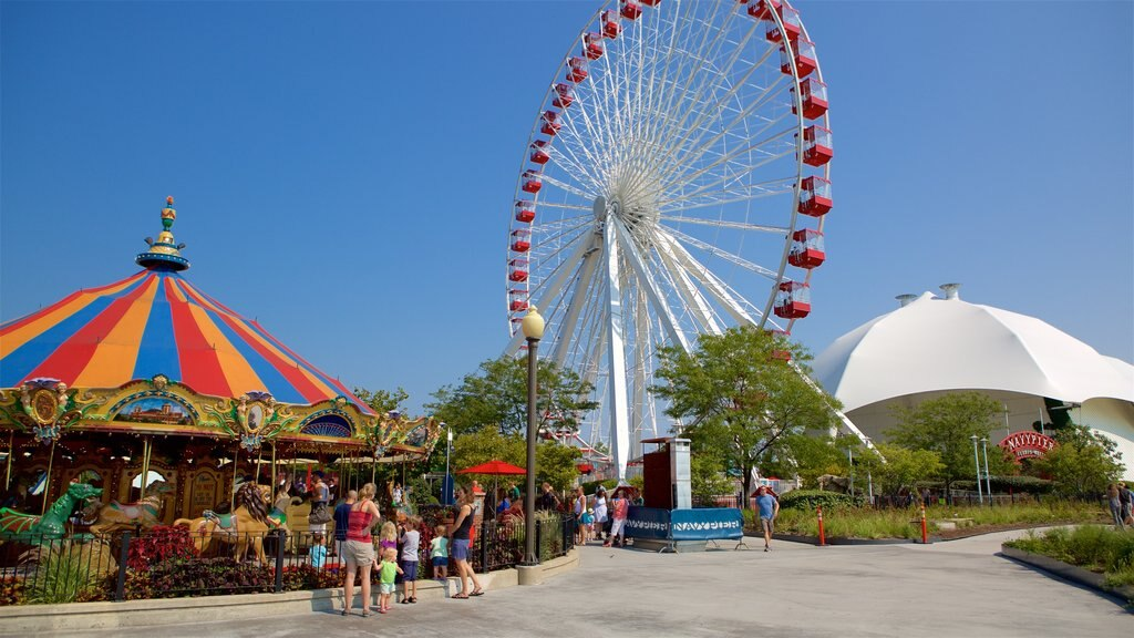 Chicago featuring rides as well as a family