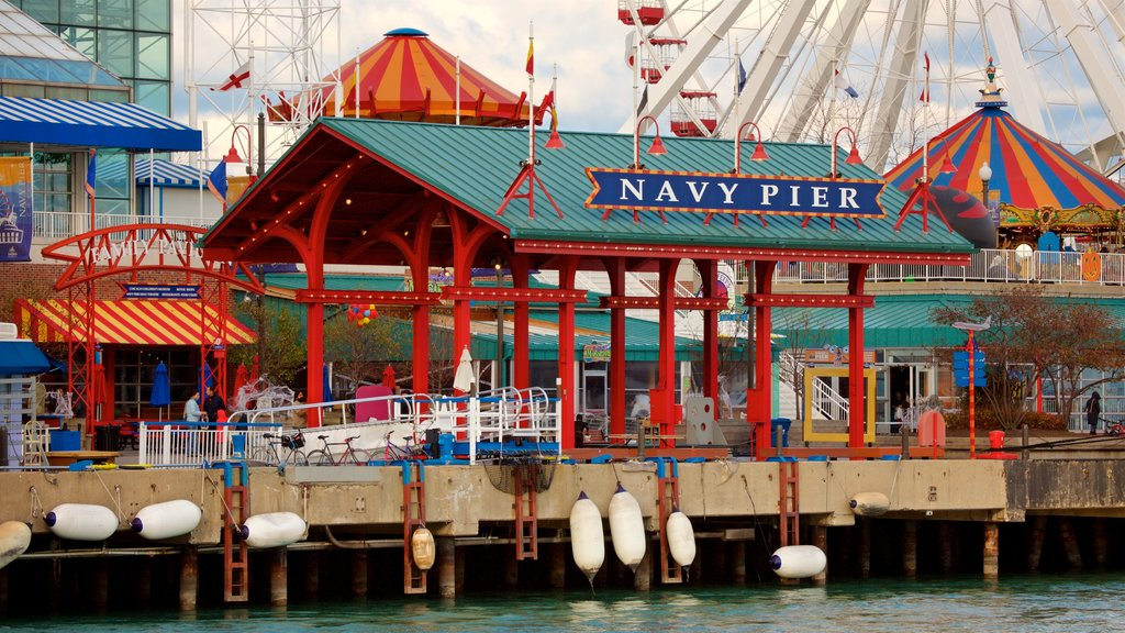 Navy Pier featuring rides and signage