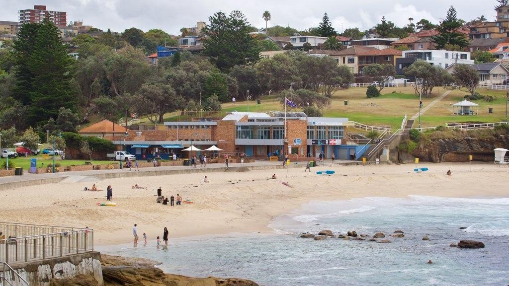 Bronte Beach showing a sandy beach, a coastal town and general coastal views
